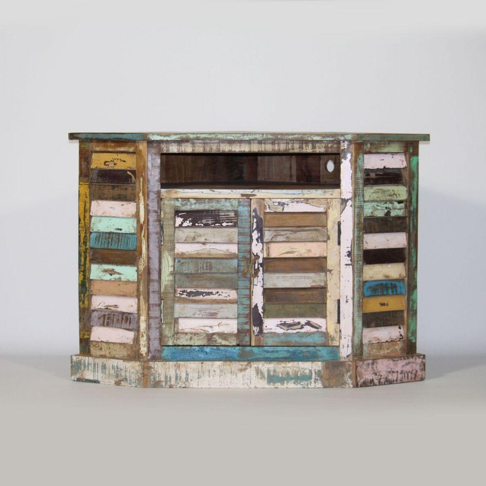 meuble tv angle ethnique bois recycl color meubles. Black Bedroom Furniture Sets. Home Design Ideas