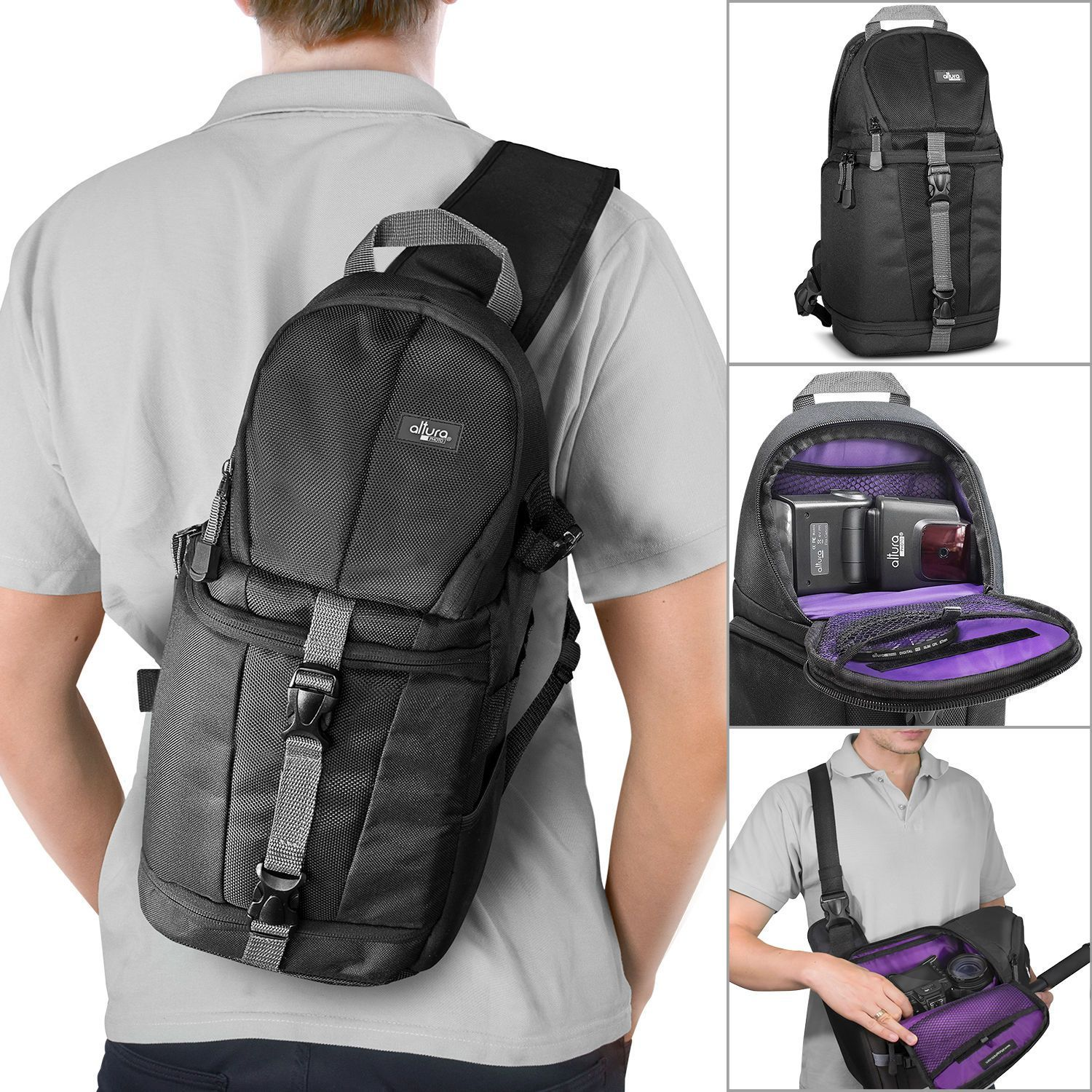 Details About Camera Sling Backpack Bag For Canon Nikon Sony