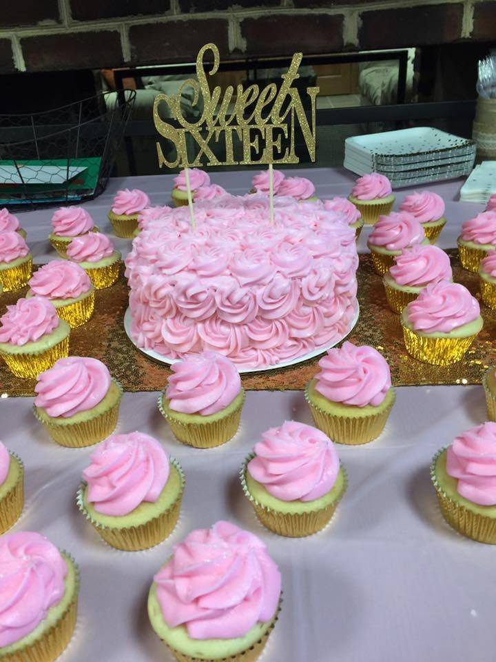 Pink And Gold Sweet 16 Birthday Party Pink And Gold Cupcakes