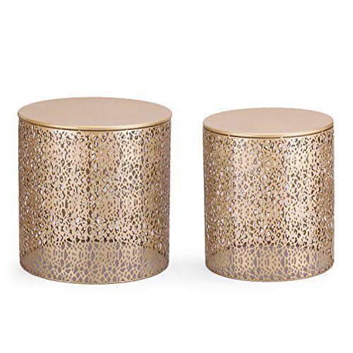 Adeco Luxury Modern Golden Accent Metal Coffee Nesting Ro https