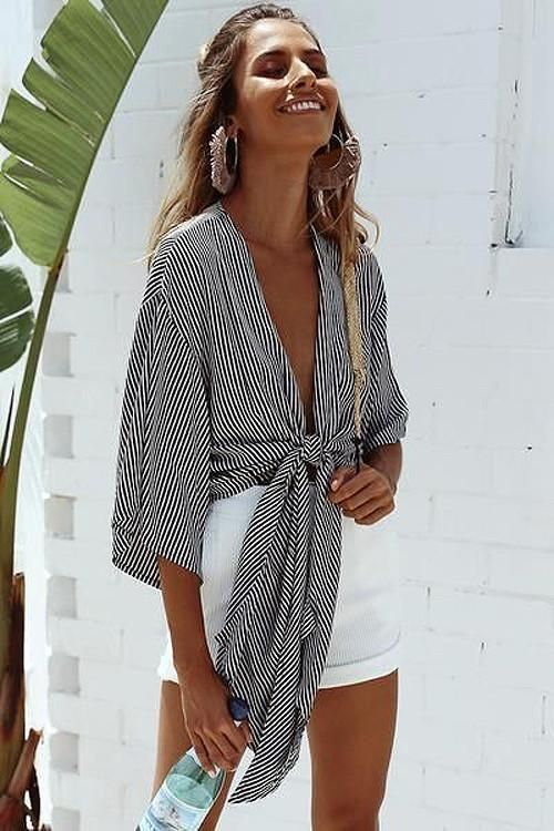 Half Sleeve V-neck Tied Crop Blouse #vacationoutfits