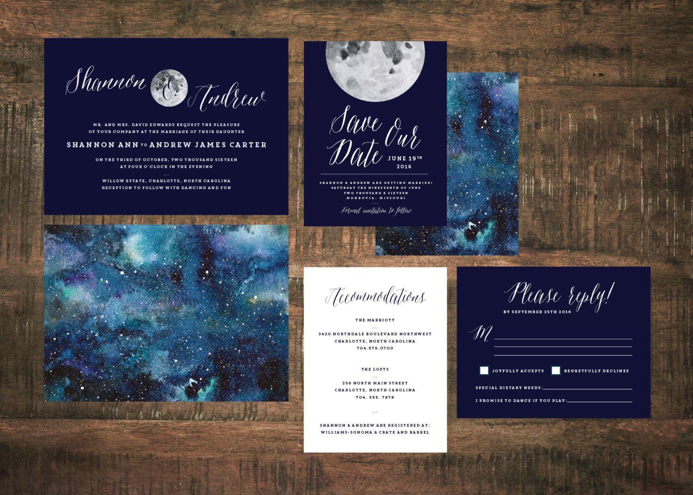 Constellation Wedding Invitation Set (Set of 25)   Starry Night ...