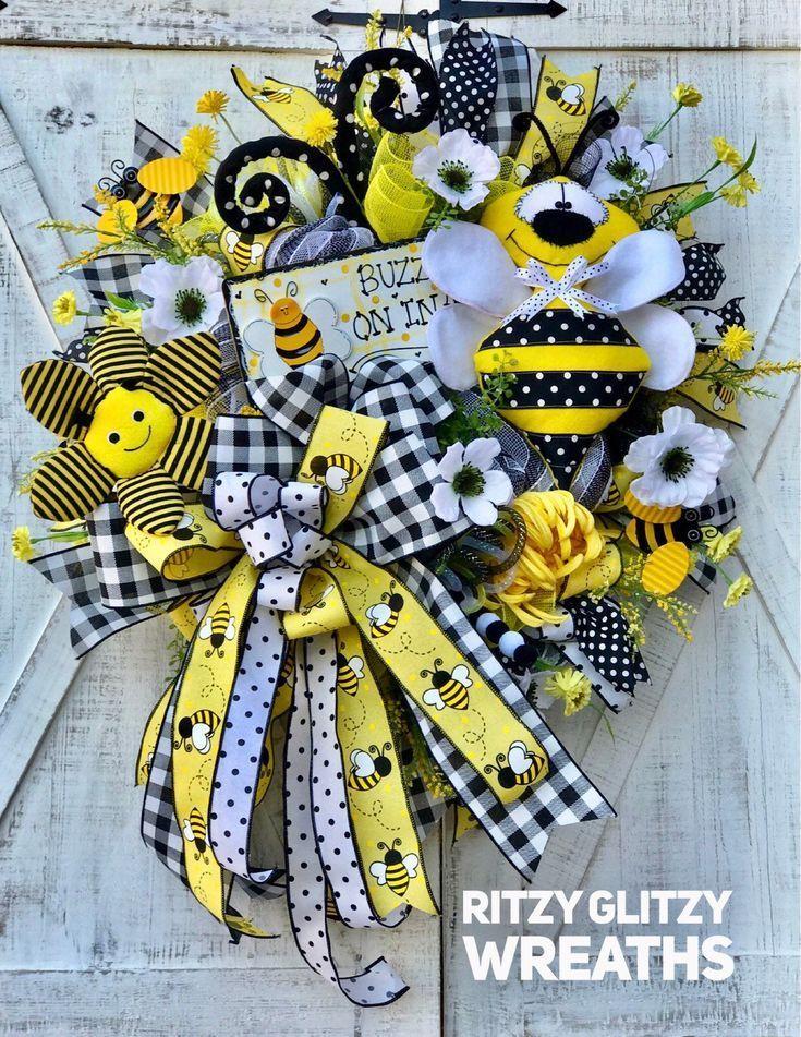 Photo of Bee Wreath, Summer Wreath, Bumblebee Wreath, Bee Decor, Front Door Wreath, Summer Bee Decor, Everyda