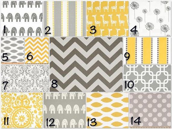 Gray and yellow crib bedding