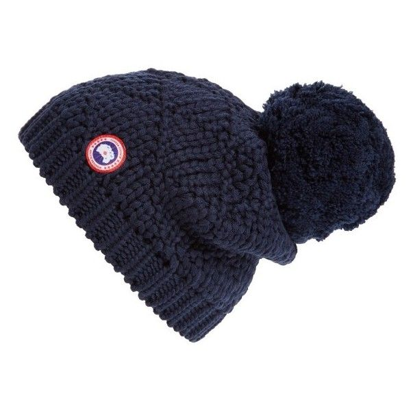 31c3d781c55d69 Women's Canada Goose Pom Merino Wool Beanie ($75) ❤ liked on Polyvore  featuring accessories, hats, navy, pom pom hat, pom pom beanie, merino wool  hat, ...