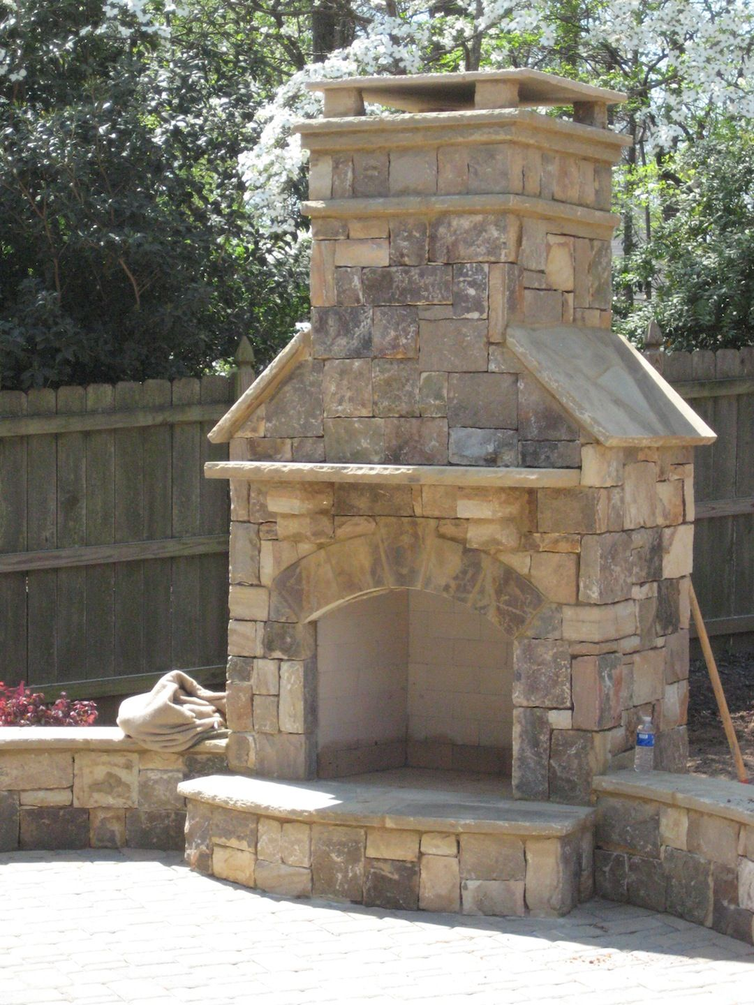 Outdoor Fireplace With Hearth And Mantel