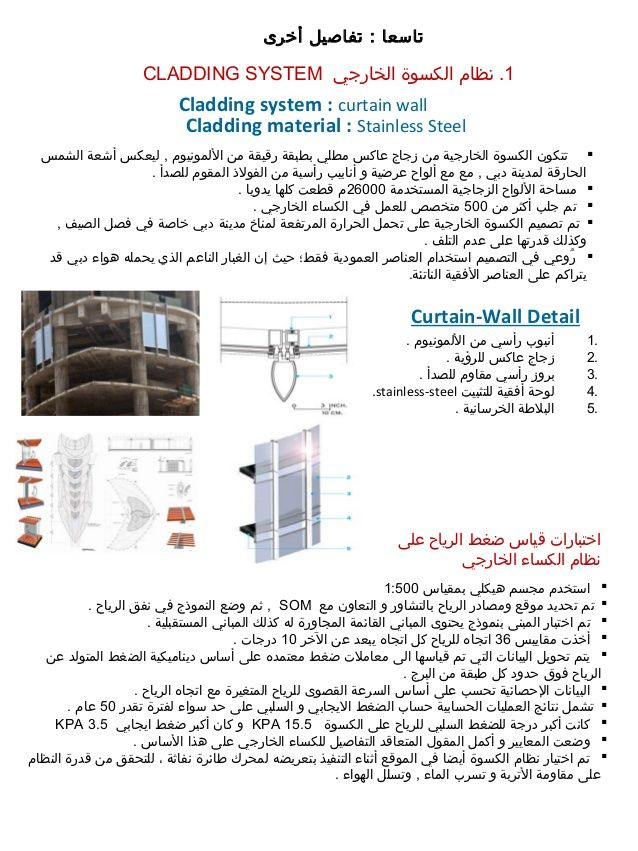 1‫الخارجي‬ ‫الكسوة‬ ‫نظام‬ .CLADDING SYSTEM Cladding system : curtain wall Cladding material : Stainless Steel ‫الشمس‬ ‫أ...