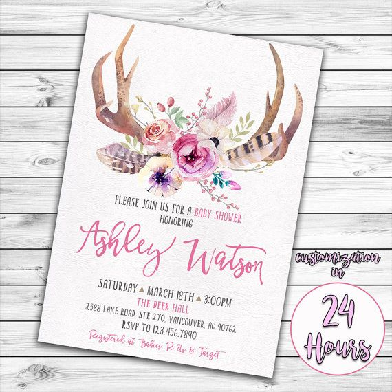 Antler Baby Shower Invitation Deer Baby Shower Girl Baby Shower