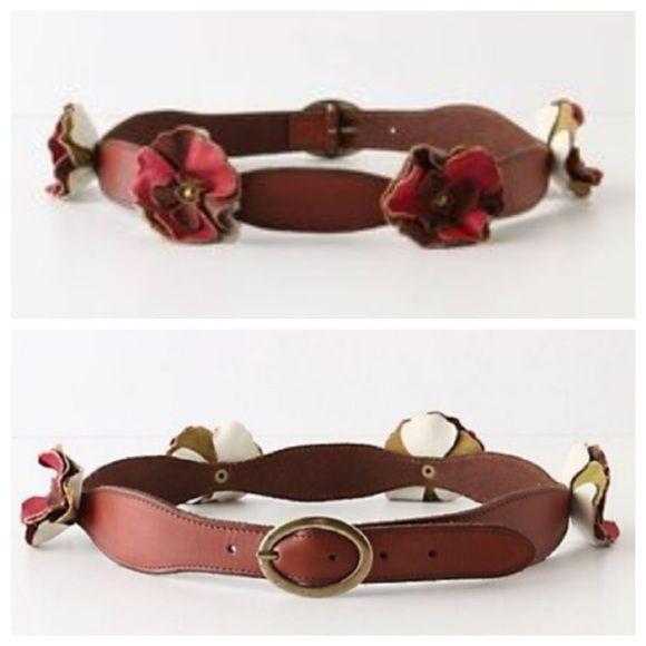 Anthropologie Ruffled Blossom Belt Size M Beautiful leather flower belt. Worn once, so basically brand new! Size M Anthropologie Accessories Belts