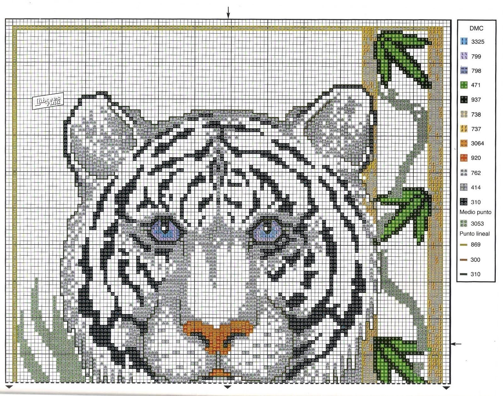 Схема вышивки крестом тигрица