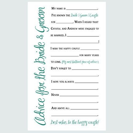 Free Wedding Advice Card Printable The Elli Blog Wedding party - guest card template