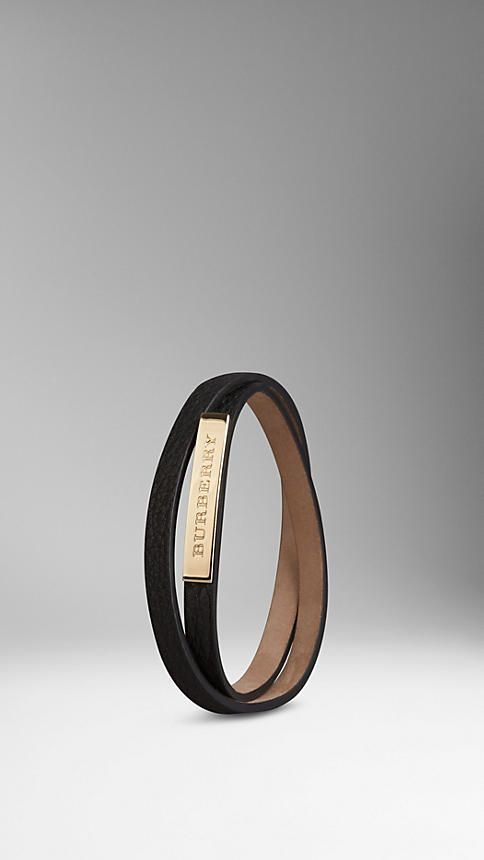 Grainy Leather Wraparound Bracelet Burberry