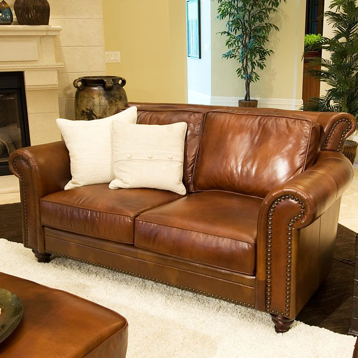 Paladia 5 Piece Leather Sofa Set In Rustic Brown Living