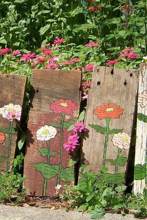 stencil paint pretty flowers on your old fence to give it. Black Bedroom Furniture Sets. Home Design Ideas
