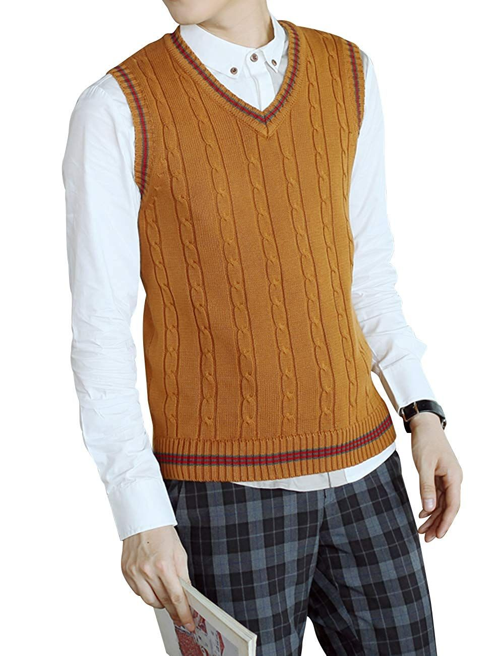 1920s Style Men S Vests Pullover Vests Waistcoats Sweater Vest Mens Cotton Cable Knit Sweater Sweater Vest Outfit