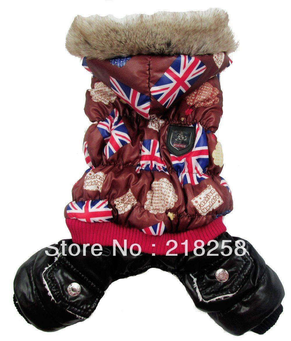 Retail Coffee UK Flag Printing Pet Dogs Winter Coat Dog