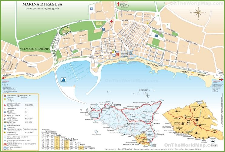 Map of Marina di Ragusa Maps Pinterest Italy and City