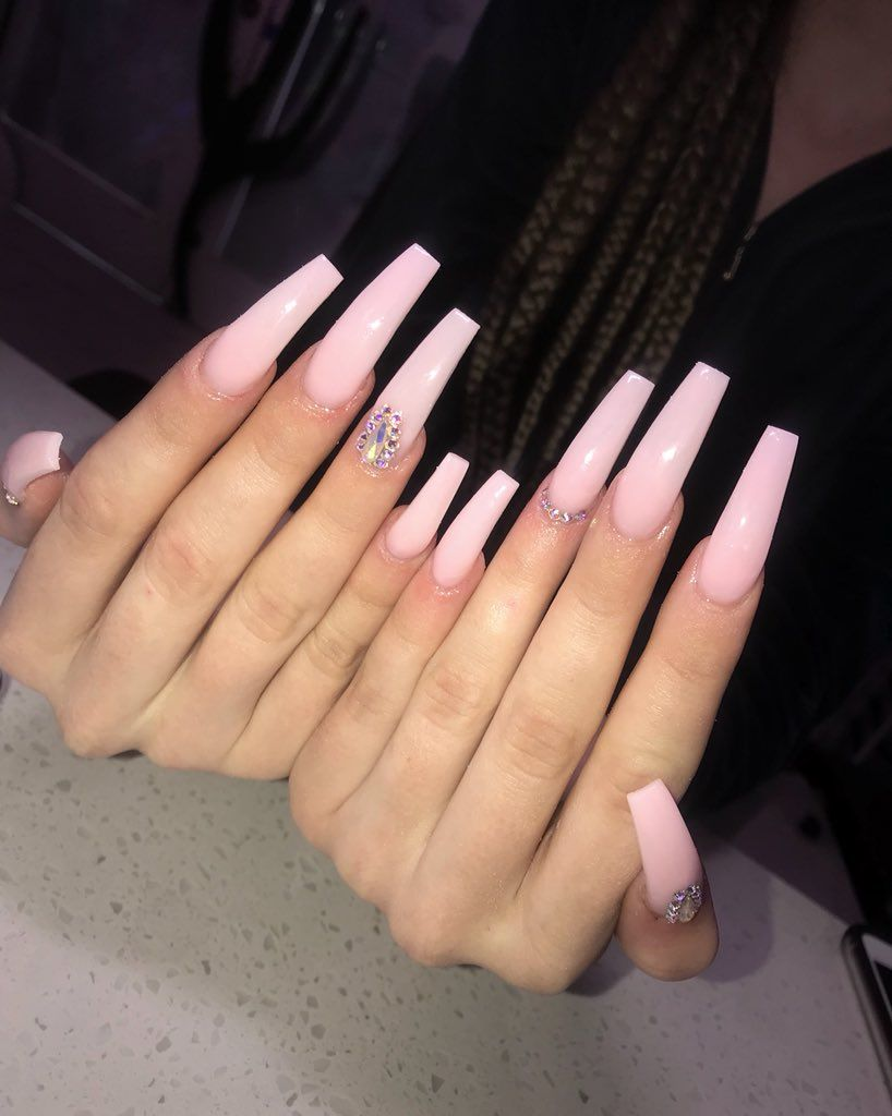 Duttygyal On Twitter Long Acrylic Nails Pink Acrylic Nails Tapered Square Nails