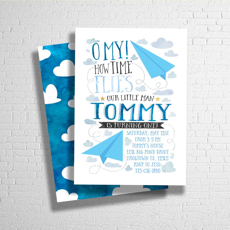 Airplane Birthday Invitation | Paper Airplane Birthday Invite | Time ...