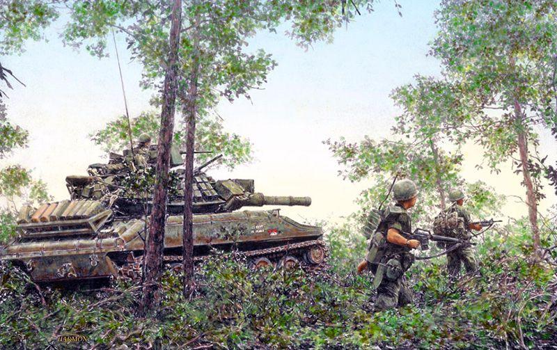 """Advancing 11th ACR soldiers, accompanied by an M551 Sheridan tank"", Jody Harmon"
