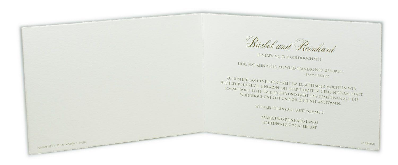 büttenkarte zum jubiläum oder zur goldenen hochzeit mit