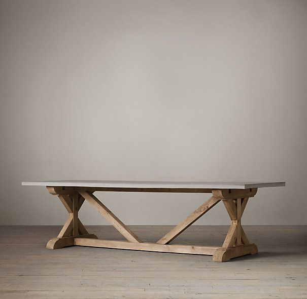 Salvaged Wood Weathered Concrete X Base Table Dining Table Marble Concrete Top Dining Table Dining Table