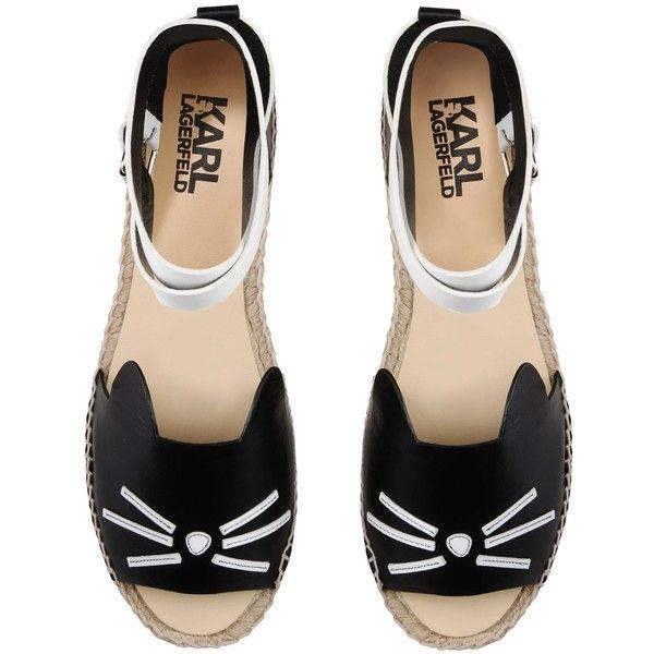 Karl Lagerfeld K Espadrille Ankle Leather Espadrilles Espadrilles Leather Buckle Sandals