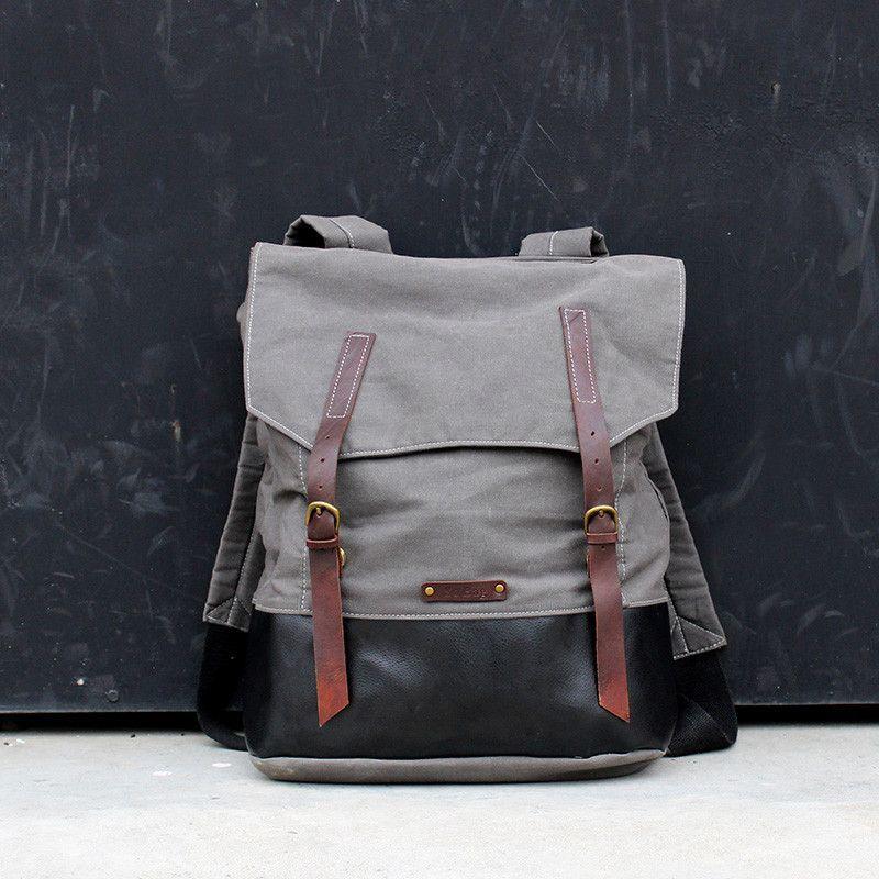 af8fe9167e07 Handmade Waxed Canvas School Backpack Casual Rucksack Travel Backpack  Laptop Bag 14057