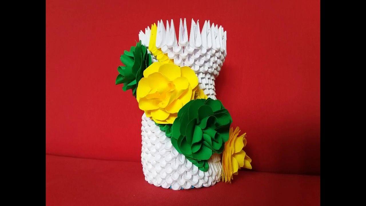Flower Vase Origami 3d Vaza Cu Flori Origami 3d Origami