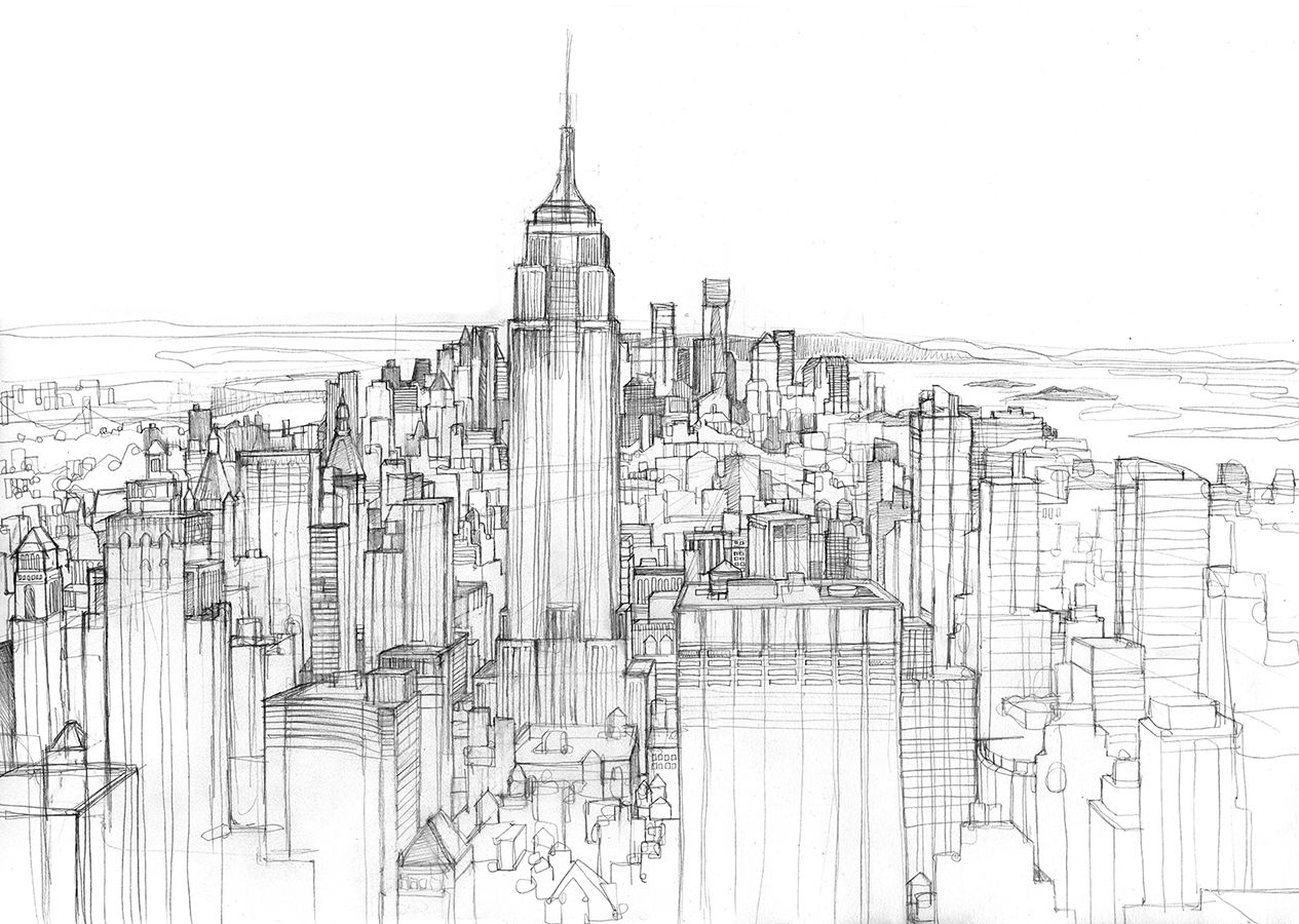 Pin on Sketches of City Life - NYC |City Building Sketches