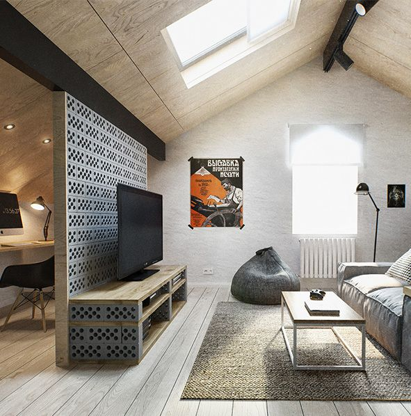 Scandinavian and industrial penthouse