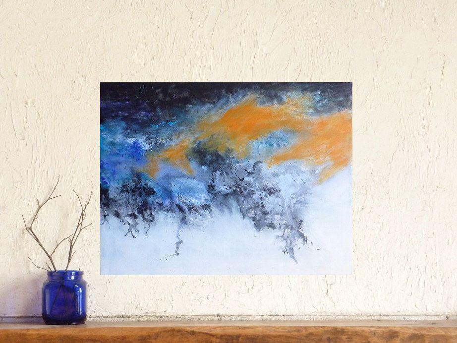 Tableau Abstrait Contemporain Bleu Blanc Orange Peinture Moderne Paysage Abstrait Bleu Peinture A Peinture Abstraite Bleu Paysages Abstraits Tableau Abstrait