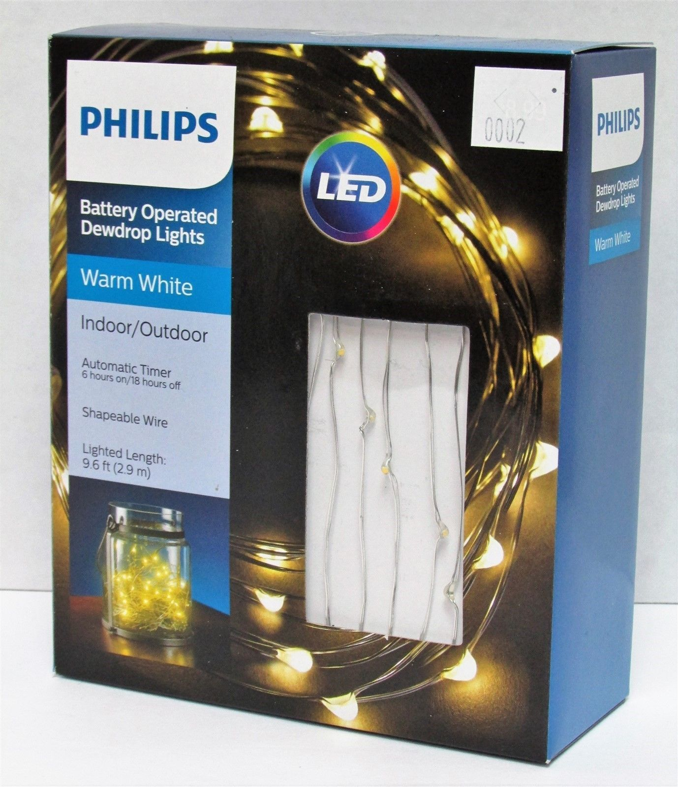 Lot of 4 LED Battery Operated Dewdrop Lights w// Timer Philips 9.6ft Warm White