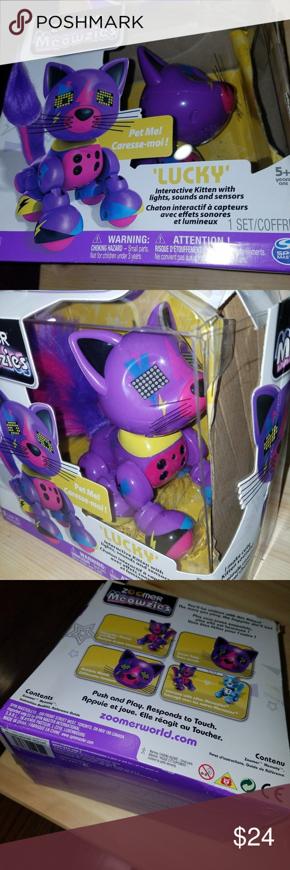 New Zoomer Meowzies Lucky Interactive Kitten Toy New Hot Toy Zoomer Meowzy Is The Sweet Super Friendly Interactive Feline Who Kitten Toys Hot Toys Kittens