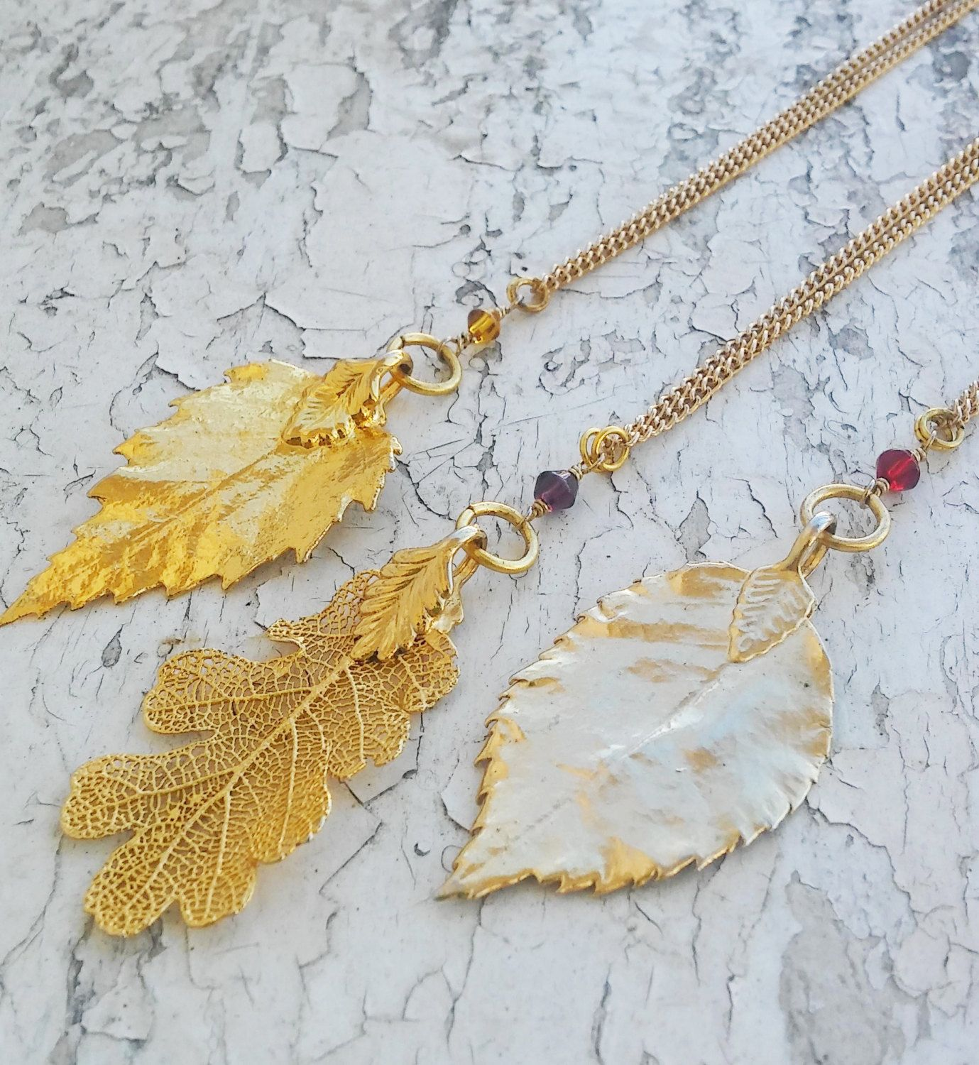 Golden leaves. Fall Leaves. Real Leaf. Simple and Sweet Necklace by ObscuredOdditiess on Etsy