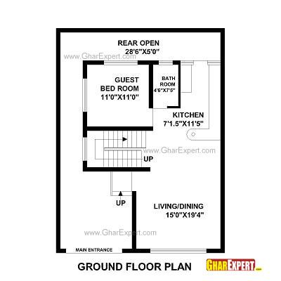 House Plan For 30 Feet By 40 Feet Plot Plot Size 133 Square Yards House Plans How To Plan 2bhk House Plan