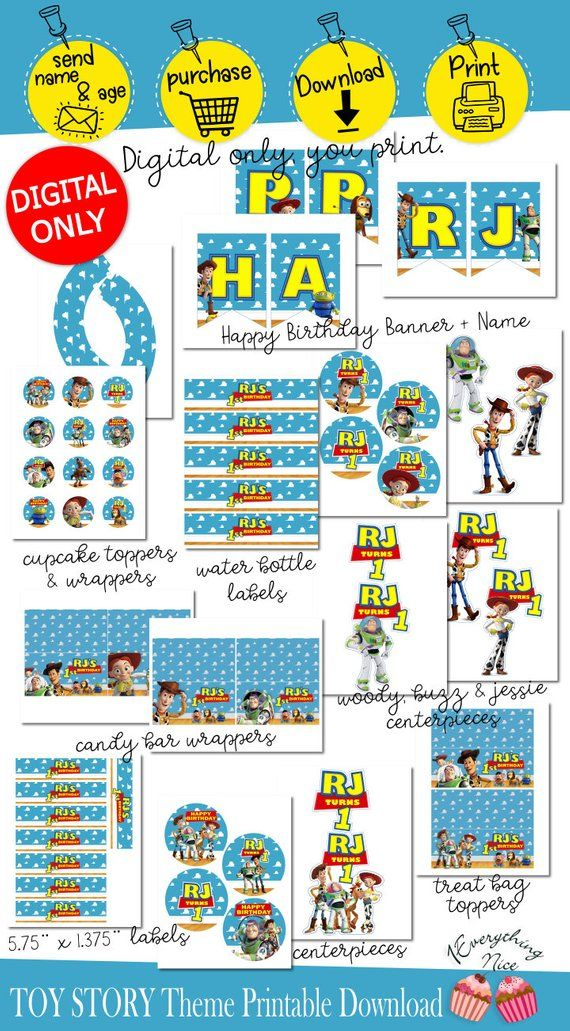 Toy Story Birthday Theme Digital Printables Personalized DIY Printable Set Download