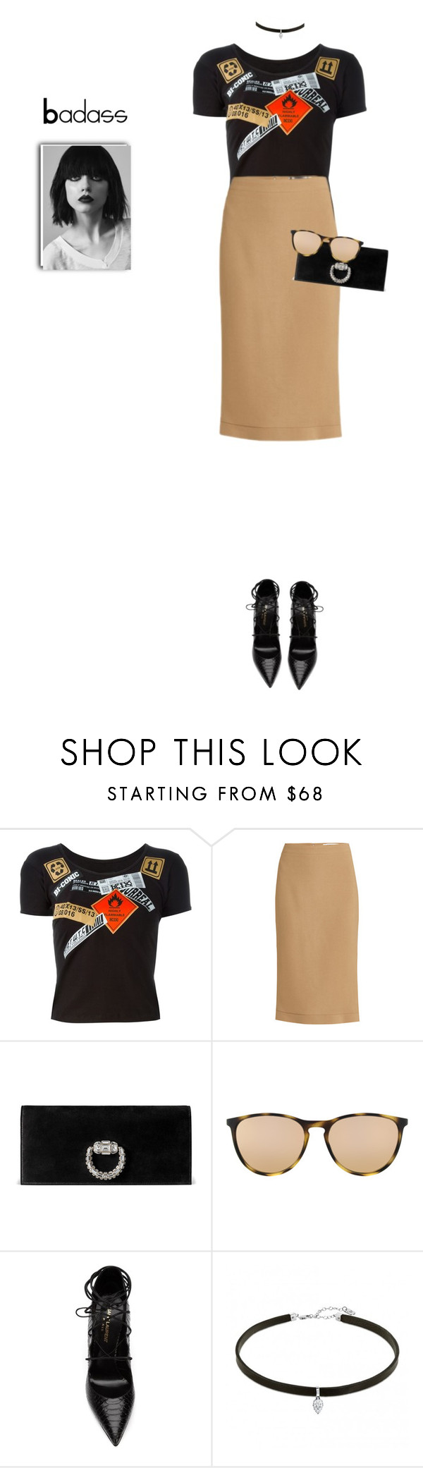 """Something new for Me. (I could not pull this off lol)"" by aishademartino ❤ liked on Polyvore featuring Kokon To Zai, Givenchy, Gucci, Ray-Ban and Yves Saint Laurent"