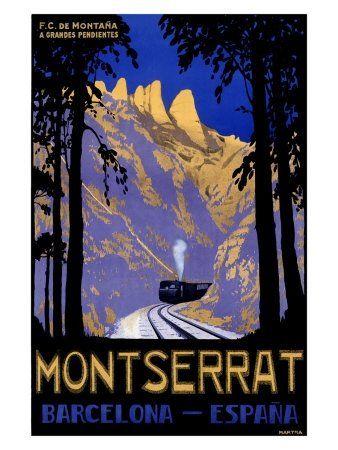 Photo of Montserrat, Barcelona Spain, Vintage Poster Solid-Faced Canvas Print