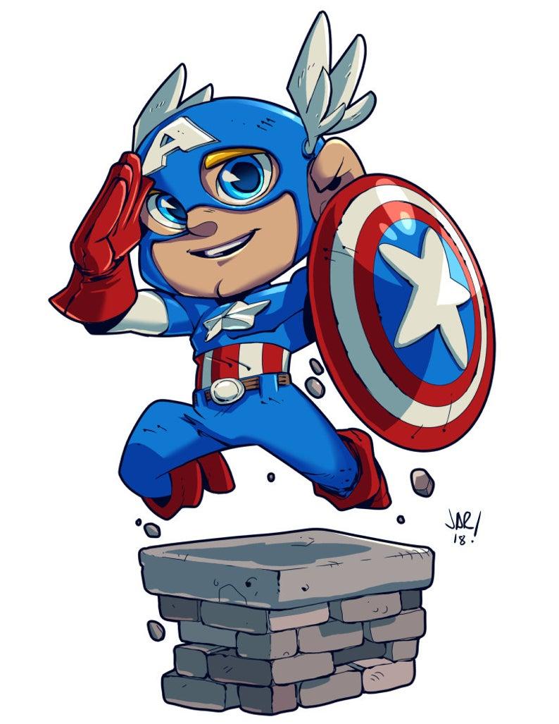 Chibi Captain America 8 5x11 Print Etsy Captain America Art Avengers Cartoon Chibi
