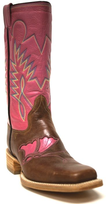 New to STT -- These girl's pink and brown boots are an exclusive custom to South Texas Tack! The butterfly detail on the instep is fun and sweet!  | SouthTexasTack.com
