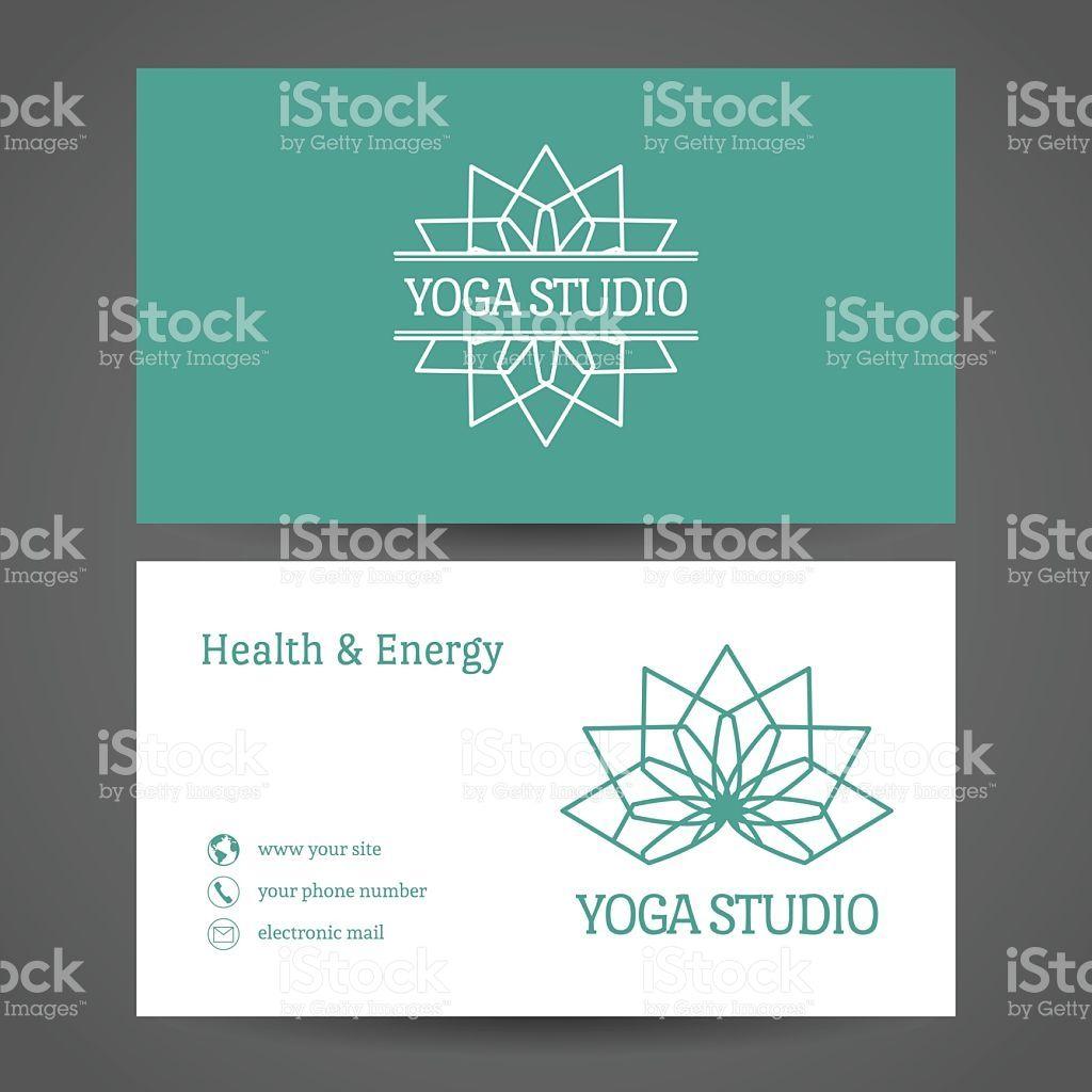 Yoga ornamental business card. Vector editable template