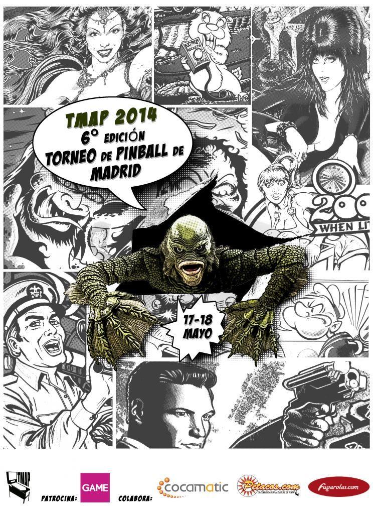 Poster TMAP 2014 (Torneo Madrileño de Pinballs 2014) Comic Style