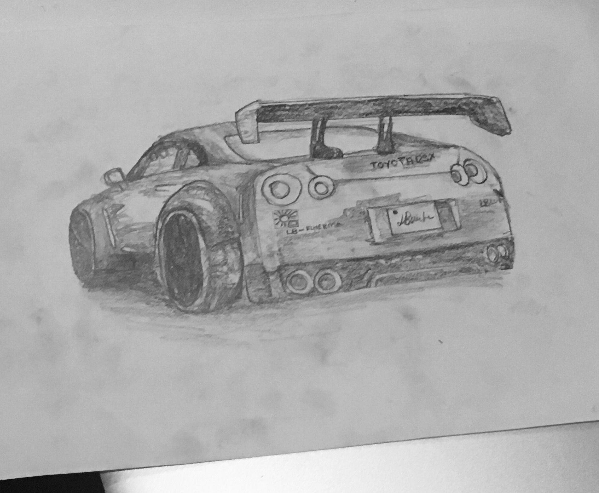 Nissan Skyline Gtr R35 Drawing Free Hand In 10 Minutes Sketch