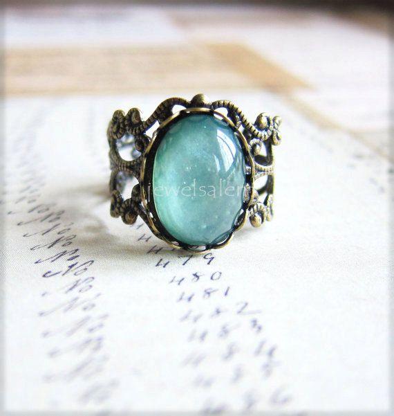 Blaue Minze Grüner Ring antiken Messingring Jahrgang filigran Ring rustikal moderne viktorianischen blaugrün Mint Ring Geschenk Fantasy Märchen skurrilen T1