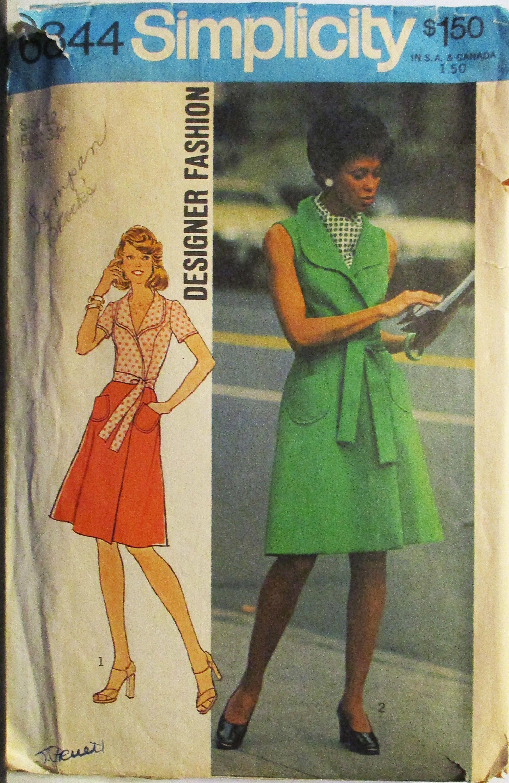 1970s vintage sewing pattern simplicity 6844 misses front wrap vintage sewing pattern simplicity 6844 misses front wrap dress pattern size 12 bust 34 by sewyesterdaypatterns on etsy jeuxipadfo Choice Image