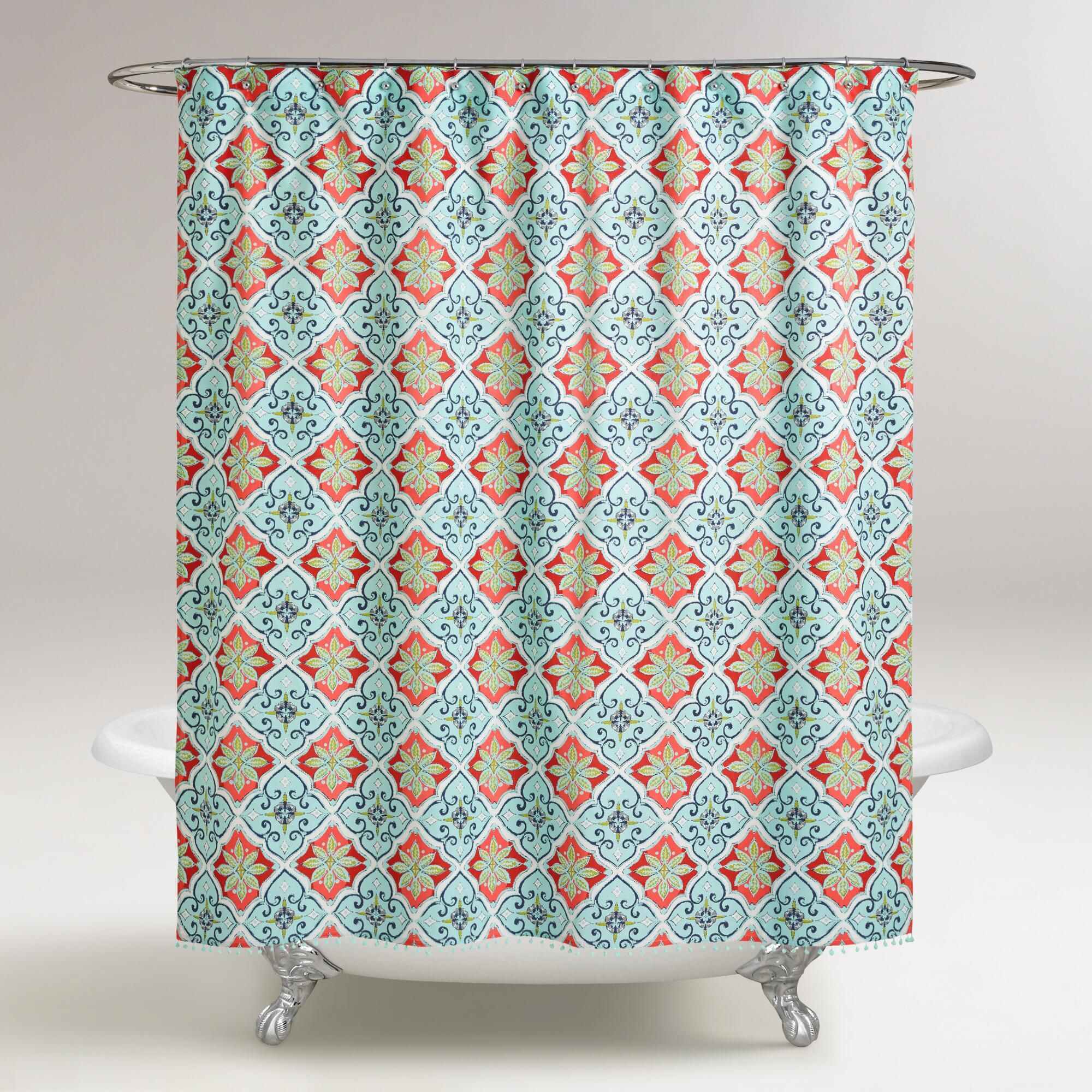 In Coral Aqua And Blue Our Shower Curtain Lends Cool Toned Vibrancy To Your Bathroom Decor With A Moroccan Inspired Tile Design
