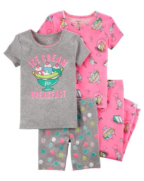 e1dc6dfda 4-Piece Neon Snug Fit Cotton PJs