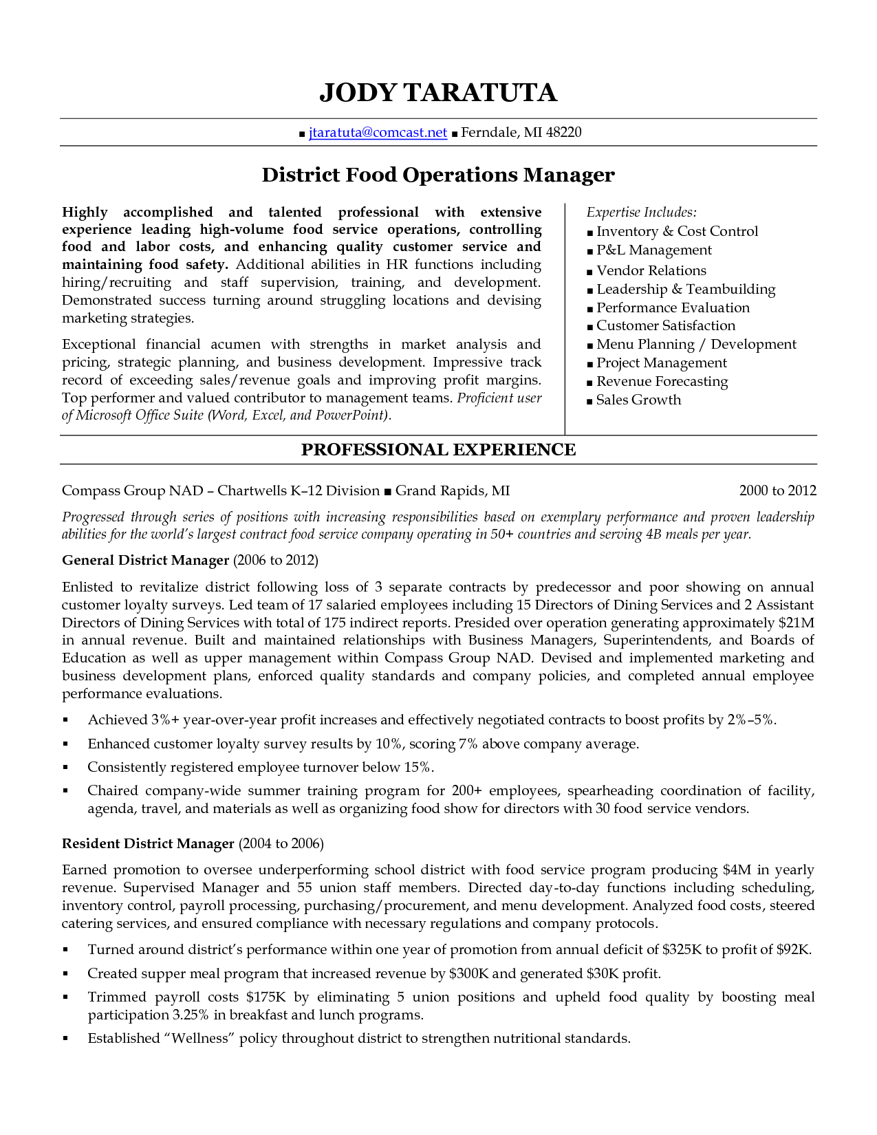 District Manager Resume  District Food Operations Manager In