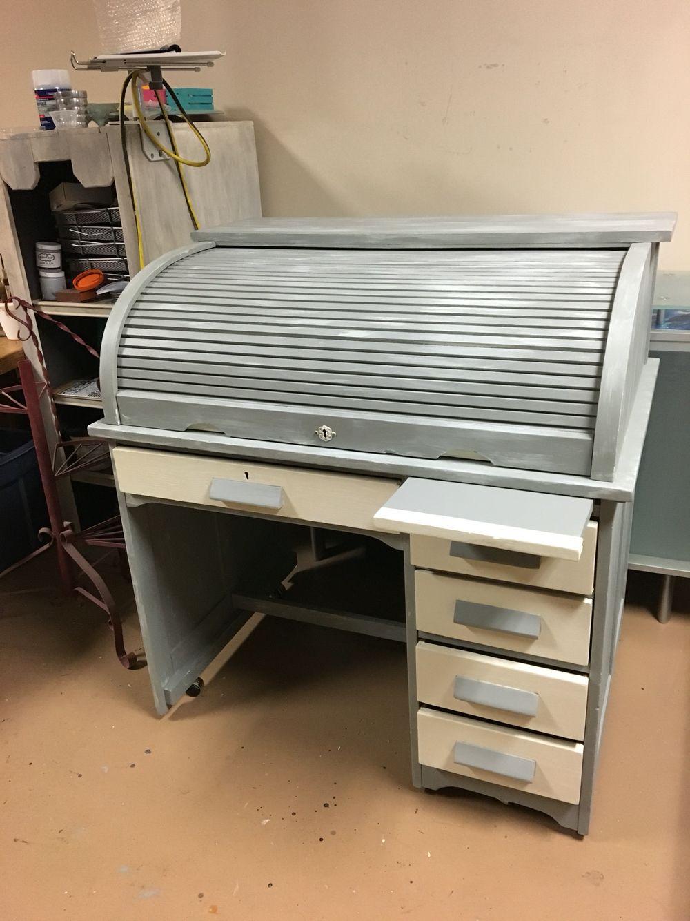 Vintage Rolltop Desk In Driftwood And Linen Roll Top Desk White